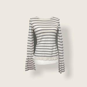Ann Taylor XS Knit Ruffle Sleeve Striped Sweater